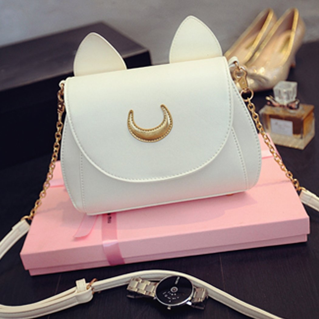 White Cosplay PU Leather Women Girls Handbag Shoulder Bags