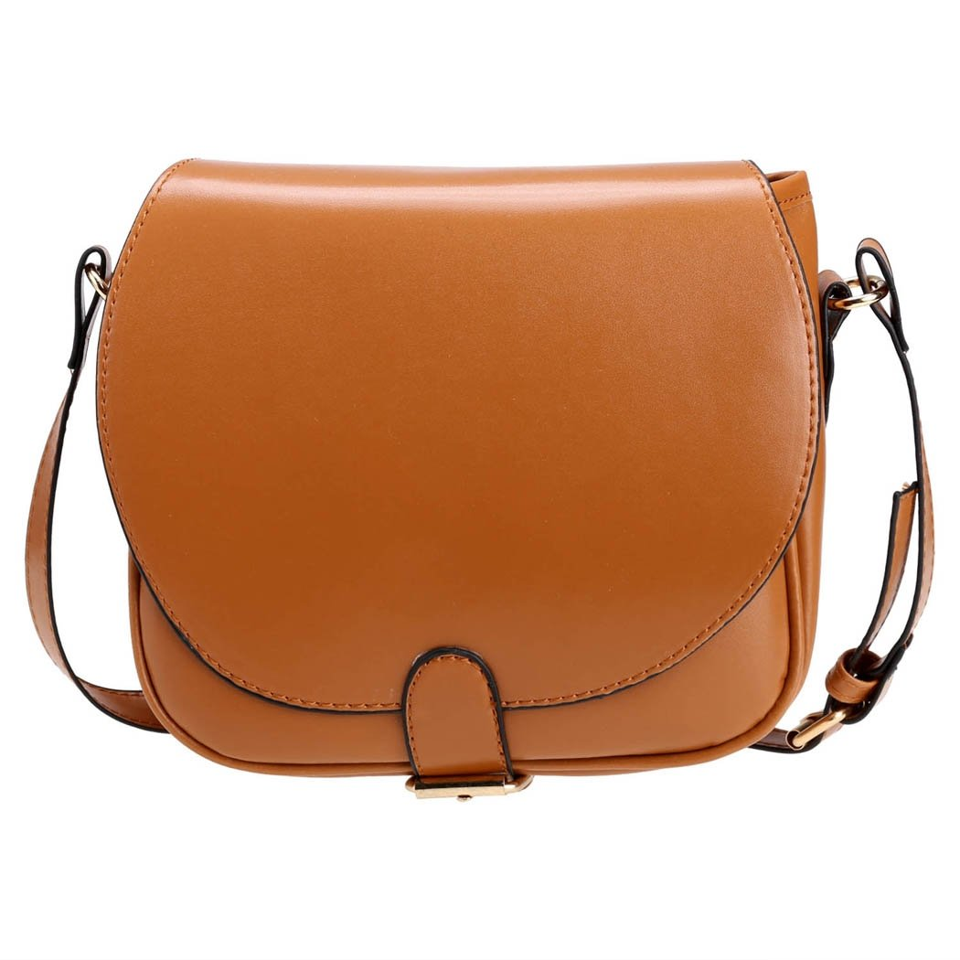 Brown Candy Color Women Synthetic Leather Shoulder Strap Bag
