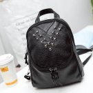 Black Synthetic Leather Backpack Soft Rivet Decor Casual Bag