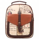 Brown Synthetic Leather Printing College Bag School Bags Backpack