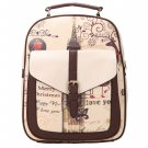 White Synthetic Leather Printing College Bag School Bags Backpack