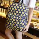 Dark blue Smile Print Casual Daypack Student Schoolbag Backpack Travel Bag