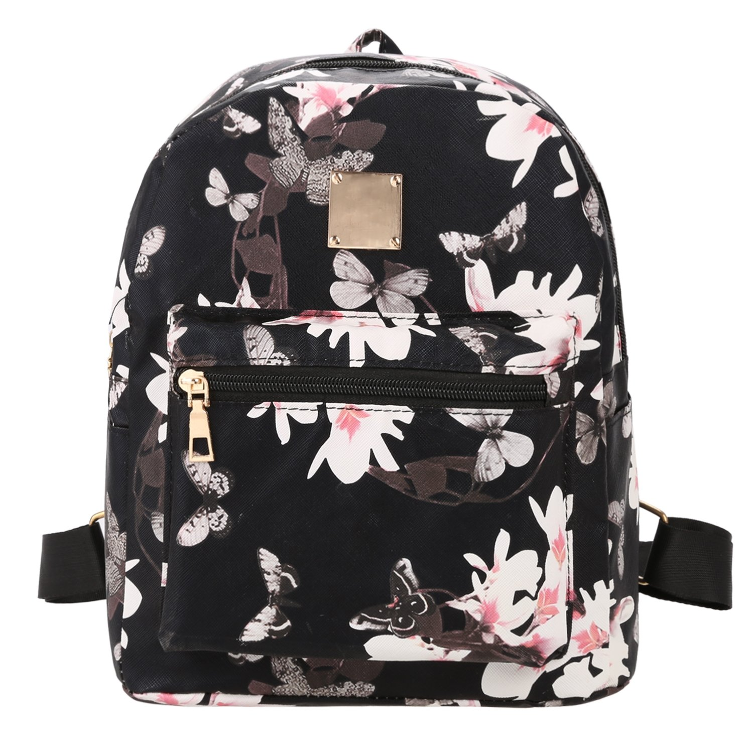 Black Floral Print Travel Vintage Style Synthetic Leather Backpack