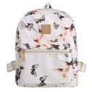White Floral Print Travel Vintage Style Synthetic Leather Backpack