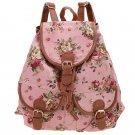 Pink Canvas Travel Satchel Shoulder Bag Backpack School Rucksack