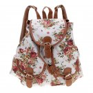 White Canvas Travel Satchel Shoulder Bag Backpack School Rucksack