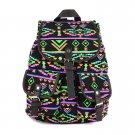 Black Vintage Floral Ladies Canvas Bag School Bag Backpack