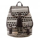 Black White Vintage Floral Ladies Canvas Bag School Bag Backpack