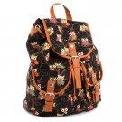 Black Cute Cartoon Owls Pattern Canvas Backpack Shoulder Bag