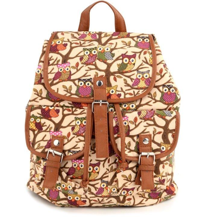 Beige Cute Cartoon Owls Pattern Canvas Backpack Shoulder Bag