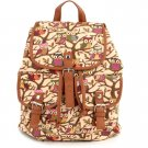 Beige Cute Cartoon Owls Pattern Canvas Backpack Shoulder Bag