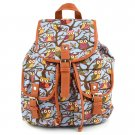 Gray Cute Cartoon Owls Pattern Canvas Backpack Shoulder Bag