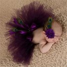 Newborn Purple Fluffy Tutu & Headband Photography Set