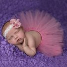 Newborn Pink Fluffy Tutu & Headband Photography Set