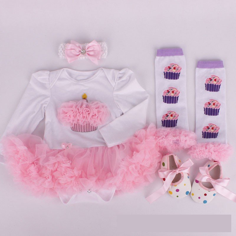 Fancy Baby Girl Autumn/Birthday Outfit, 4 Pcs/set