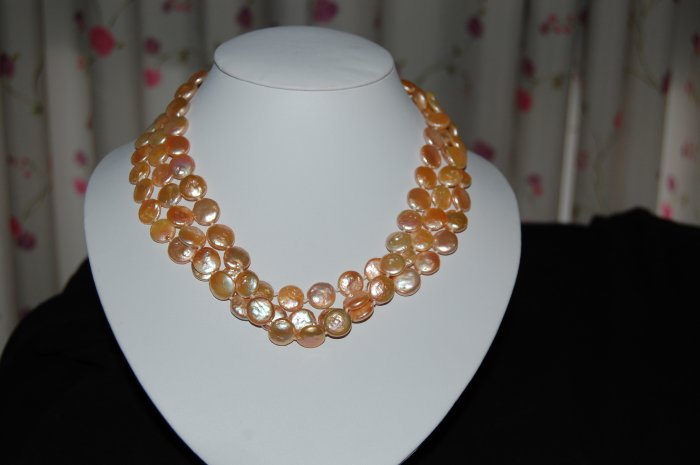Triple Strand Pink Coin Pearl N1062