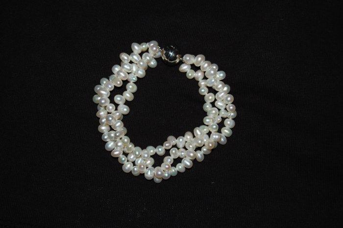 Triple Strand Zig Zag White  Pearl Bracelet