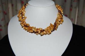 Triple Strand Gold Keshi N1138