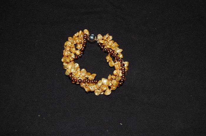 Triple Strand Gold Keshi Bracelet B1138