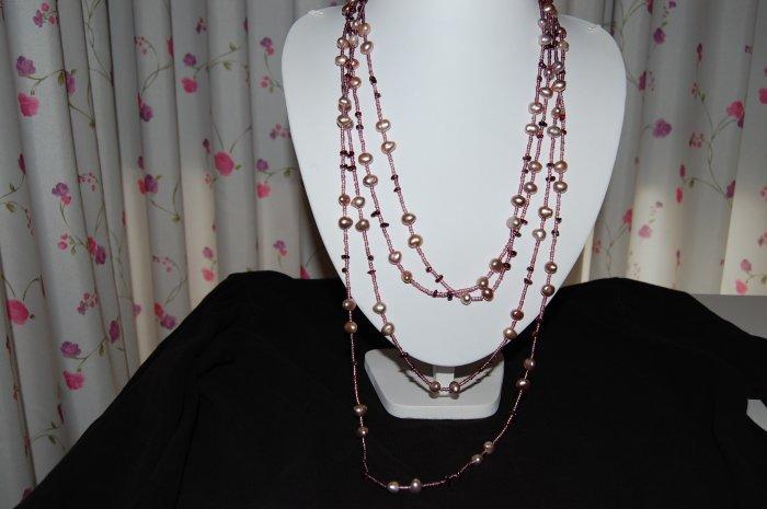 """120"""" Purple w/ Bead necklace N1110"""