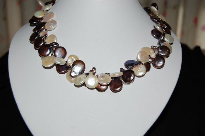 Double Strand Coin Pearl Necklace N1127