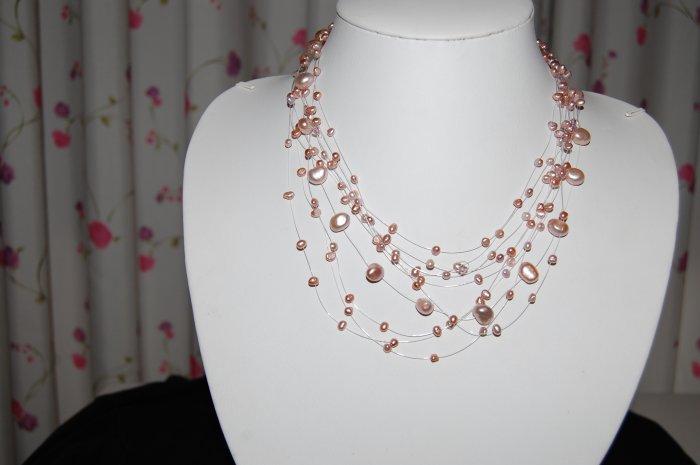 Celestial 10 strand pearl  Pink N1151