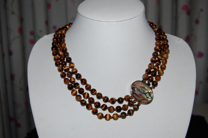 Triple Strand Tigers Eye Necklace N1083