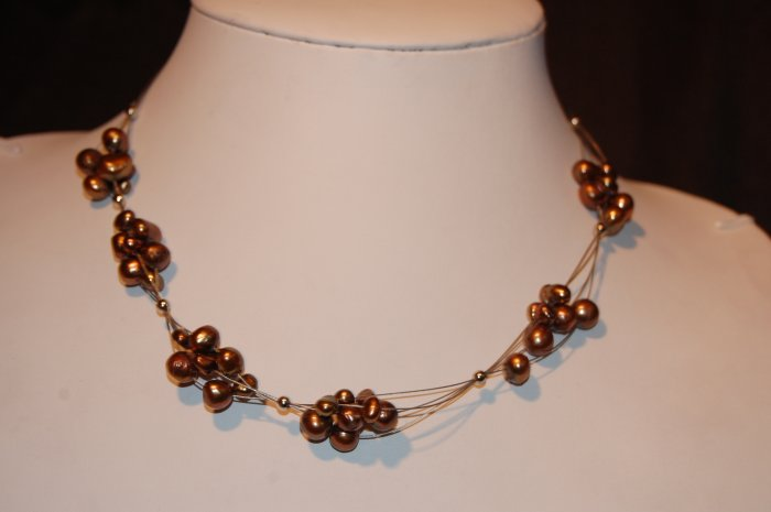Bunches of pearl of wire Brown N1165