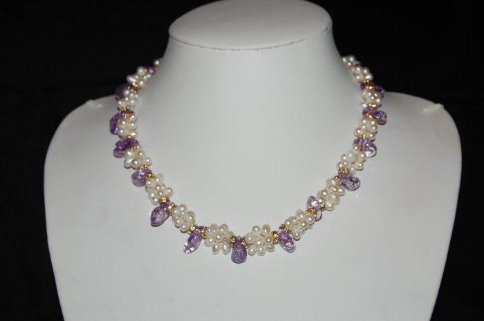 Single Strand Pearls with Purple Stones N1090