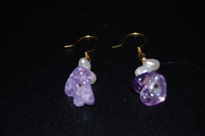 Earring with Purple Stone to match necklace E1090