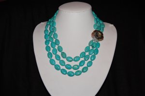 Triple Strand Graduated Turquoise N1107