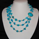 Pearl and Turquoise Triple Strand 3-3