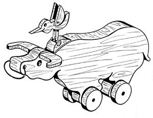 """Water Buffalo Pull or Play Toy  #105 - """"ON SALE"""" Woodworking / Craft Pattern"""
