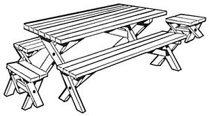 Picnic Three (table & benches)  #163 - Woodworking / Craft Patterns