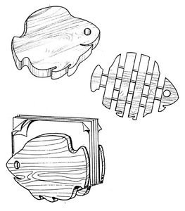 "Fish Set Kitchen Helpers #308 - ""ON SALE""  Woodworking / Craft Pattern"