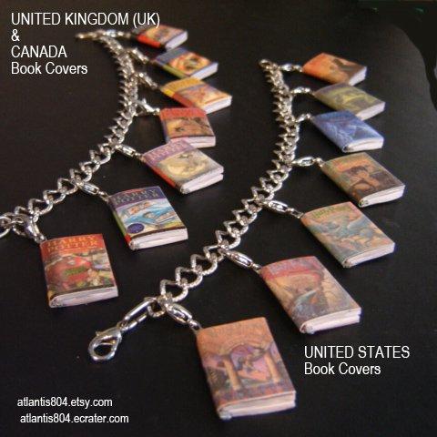 Harry Potter Mini Book Charm bracelet (ecrater)-UK or USA version