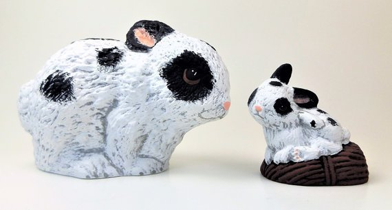 Hand Painted Spotted Ceramic Bunnies Rabbits
