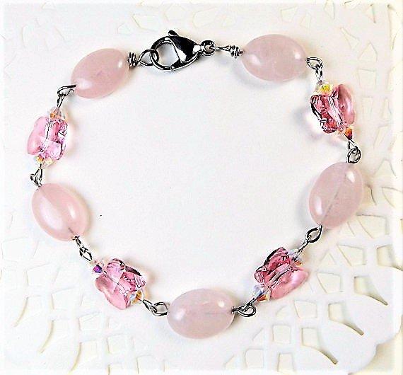 Rose Quartz and Pink Crystal Bracelet
