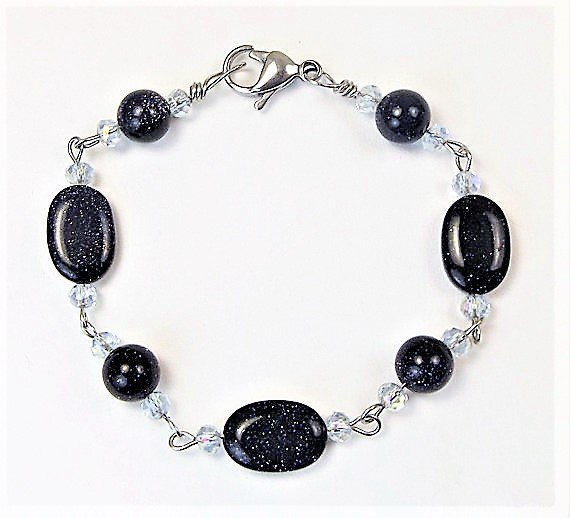 Navy Blue Goldstone and Crystal Bracelet
