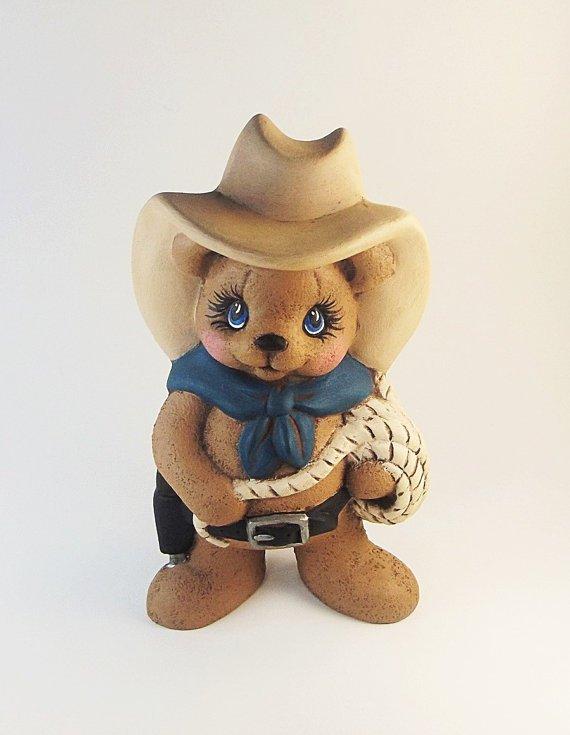 Ceramic Cowboy Western Teddy Bear