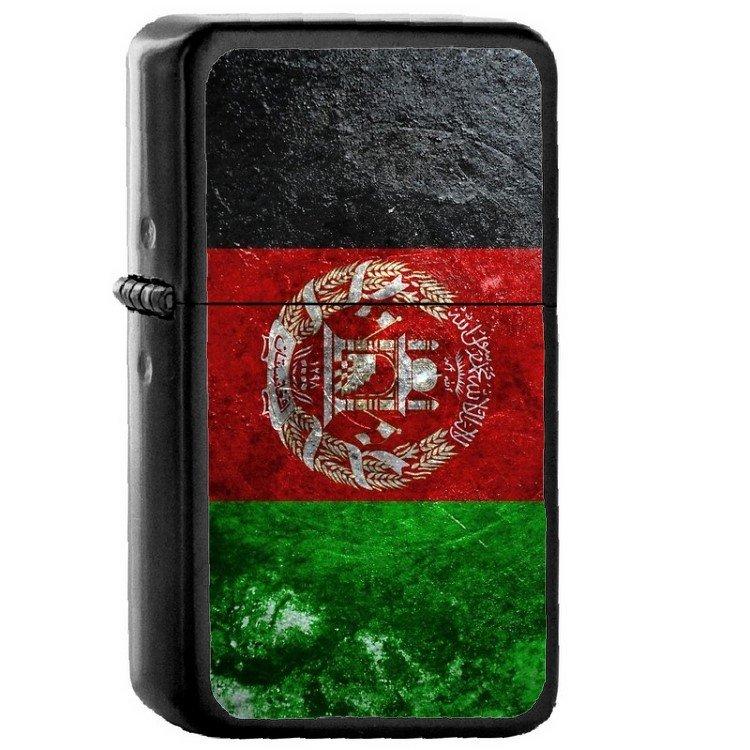 Afghanistan Country National Emblem Flag - Oil Flip Top Black Lighters 1003