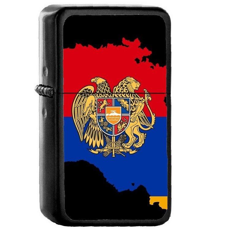 Armenia Country National Emblem Flag - Oil Flip Top Black Lighters 1072