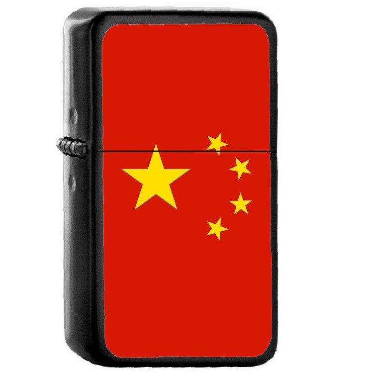 China Country National Emblem Flag - Oil Flip Top Black Lighters 1340