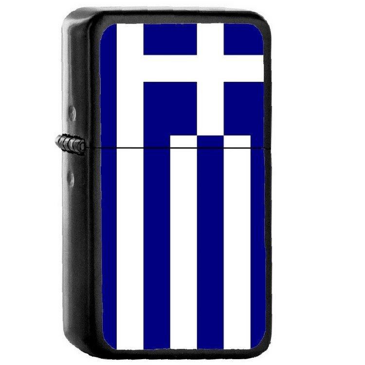 Greece Country National Emblem Flag - Oil Windproof Flip Top Black Lighters Briquet Encendedor 1628