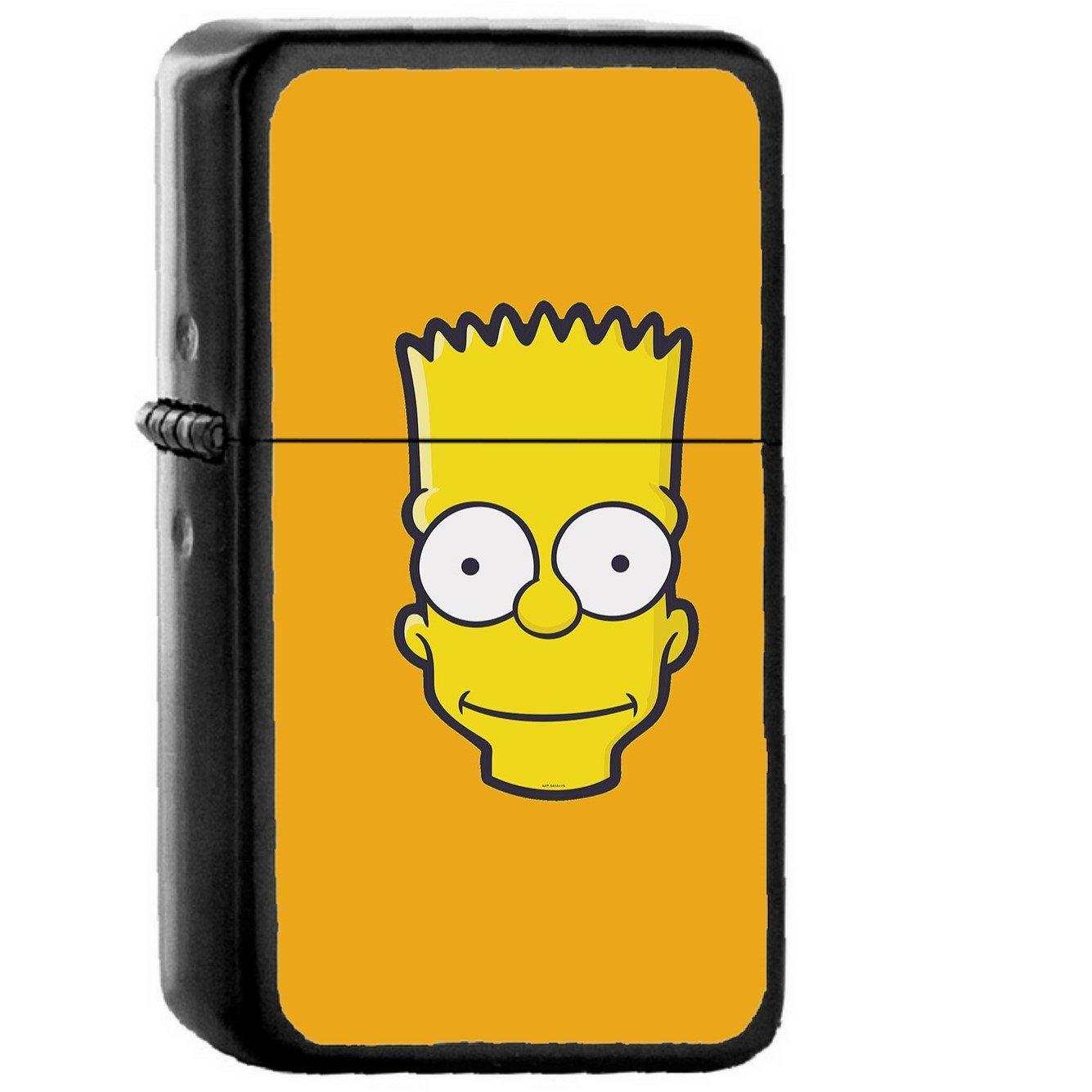 Bart Face Art Illust Yellow Simpsons Minimal Simple - Oil Windproof Black Lighters Briquet Encendedor