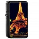 Eiffel Tower Paris Night Art Illustration - Oil Windproof Black Lighters