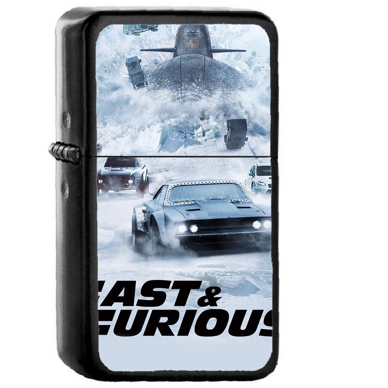 Fast And Furious Film Illustration Art - Oil Windproof Black Lighters Briquet Encendedor