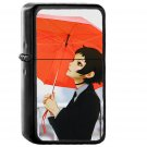 Girl Rain Umbrella Ilya Kuvshinov Red Illustration Art Soft - Oil Windproof Black Lighters Briquet Encendedor