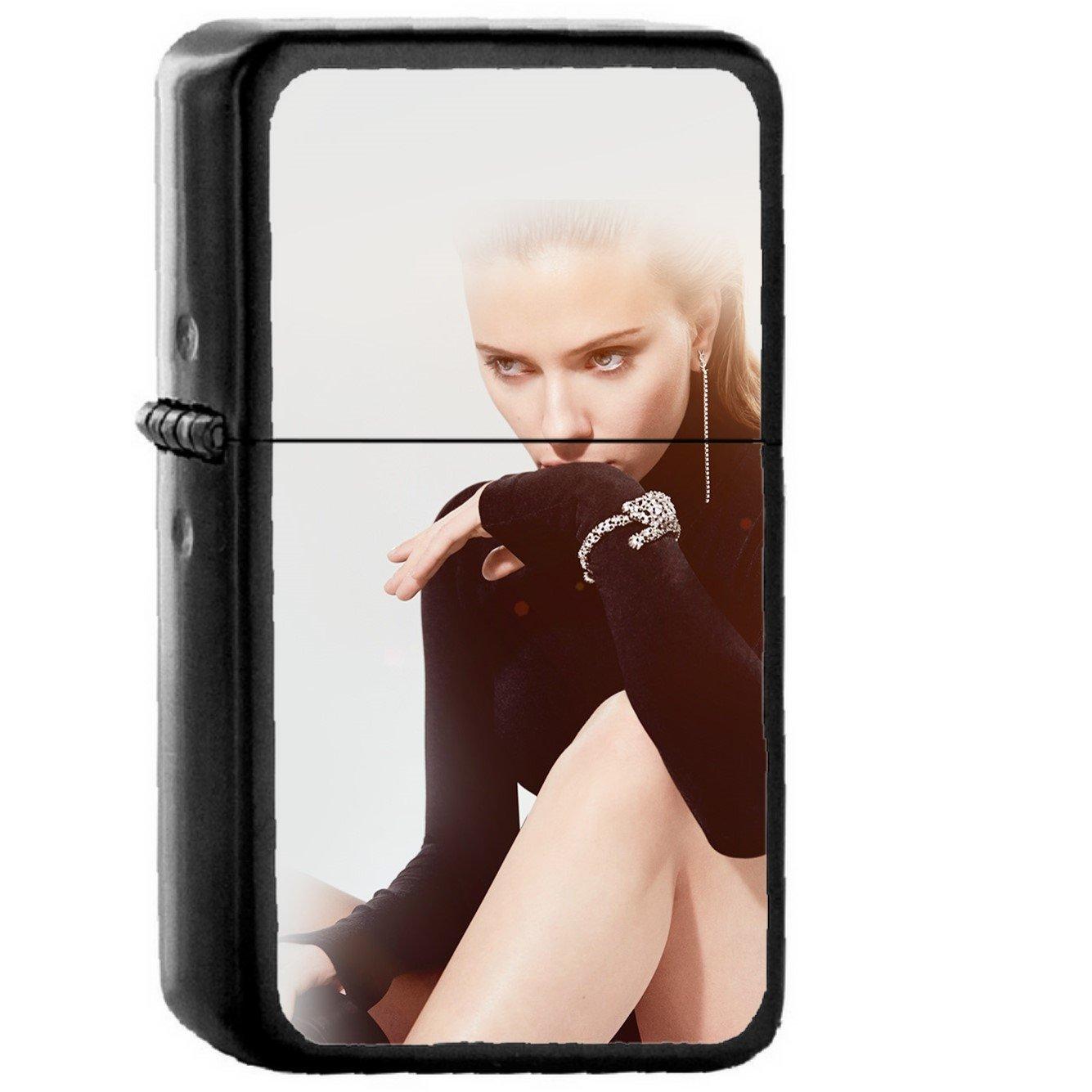 Model Celebrity Scarlett Johansson Actress - Oil Windproof Black Lighters Briquet Encendedor