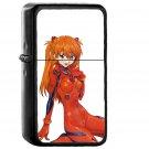 Asuka Anime Girl Art Red - Oil Windproof Black Lighters